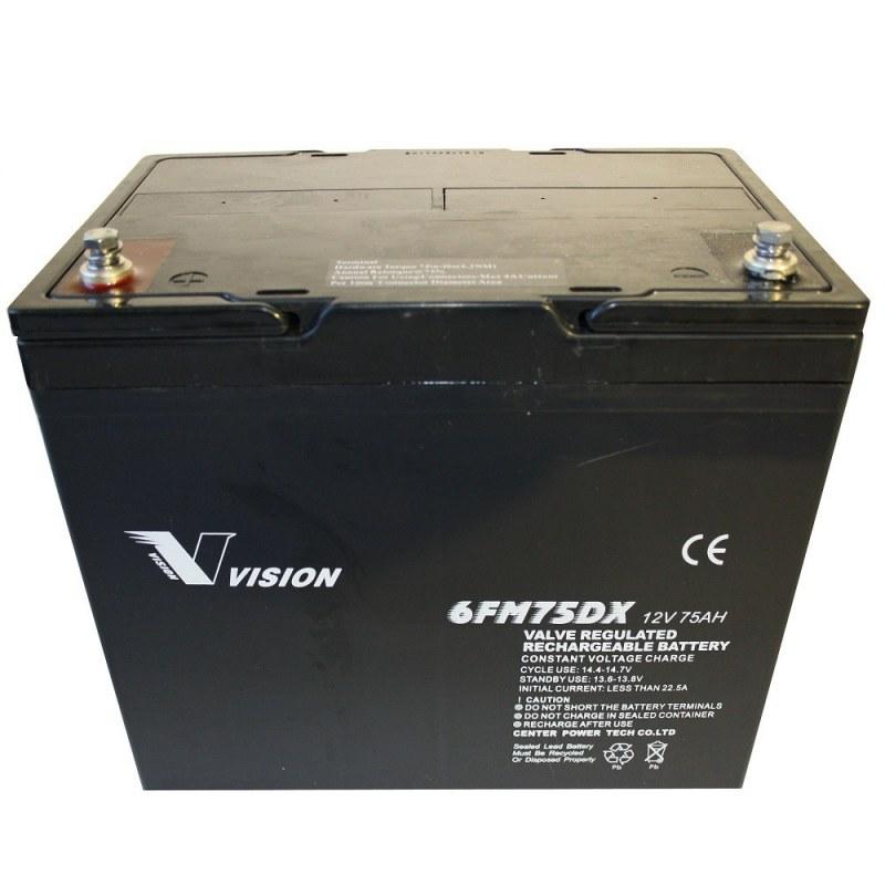 Kraftigt AGM batteri på 12V/75Ah til elscooter (Vision 6FM75)