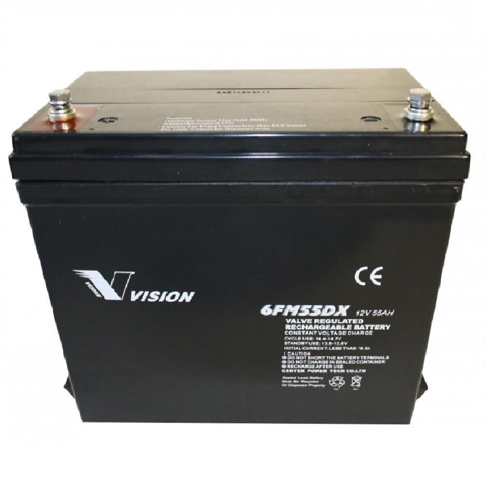 Bra 55Ah 12V AGM Vision batteri 6FM55DX til el-scootere - golf buggy PB-72