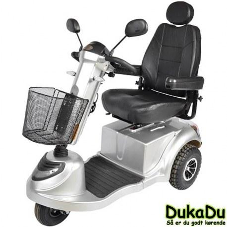 3 hjulet El scooter, GO-EL 440 i metalgrå med LED lys - høj komfort og affjedring på alle hjul.