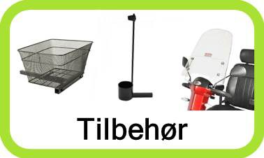 Tilbehør og ekstra udstyr til el scootere. Kurve, stokkeholder, regnslag og bagagebokse.